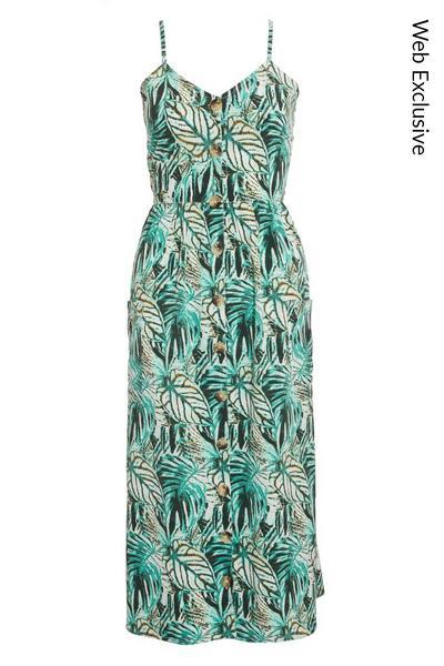 Aqua Tropical Print Midi Dress